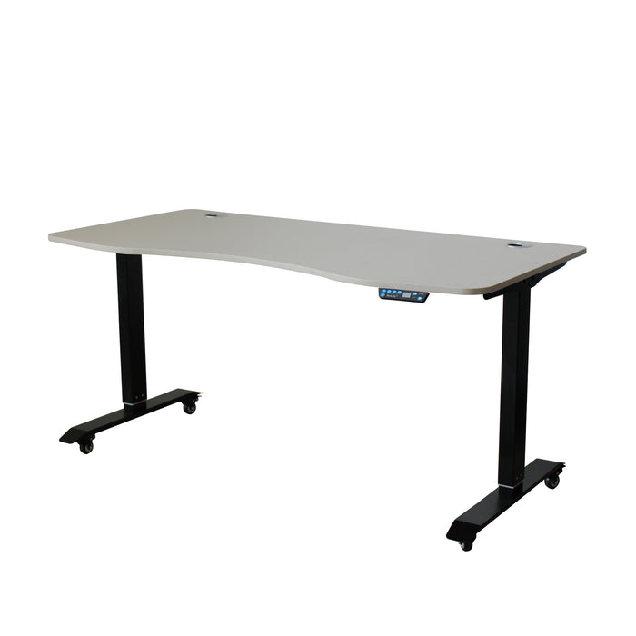 AB-63 Ergonomic 63-in 3 Memory Buttons LED Electric Automatic Height Adjustable Sit to Stand Curved Work Office Desk with Black Legs