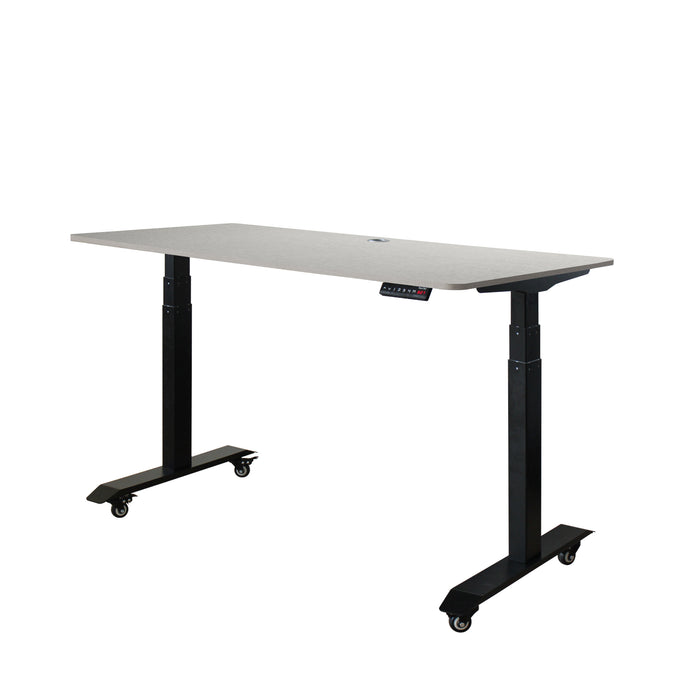 AB3-57 Ergonomic 57-in 3 Memory Buttons LED Electric Automatic Height Adjustable Sit to Stand Work Office Desk with Black Legs