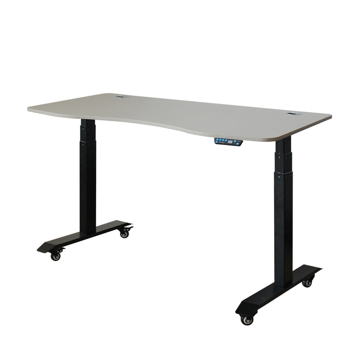 AB3-63 Ergonomic 63-in 3 Memory Buttons LED Electric Automatic Height Adjustable Sit to Stand Curved Work Office Desk with Black Legs