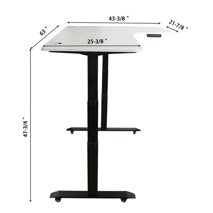 AB3-63L Ergonomic 63-in 3 Memory Buttons LED Electric Automatic Height Adjustable Sit to Stand L-Shaped Corner Work Office Desk with Black Legs
