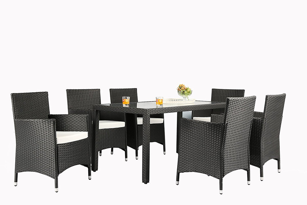 Azure Sky AS16BL 7 Piece Wicker Set, Black
