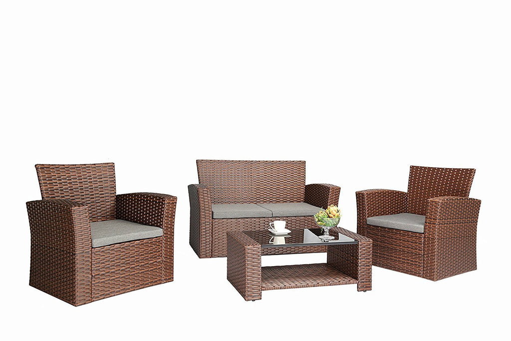 Azure Sky As87br 4 Piece Wicker Set Brown Long Mountains