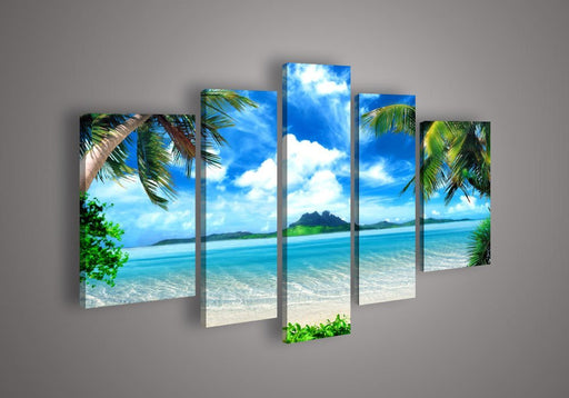 [Small] Premium Quality Canvas Printed Wall Art Poster 5 Pieces / 5 Pannel Wall Decor Azure Sky Ocean Painting, Home Decor Pictures - With Wooden Frame