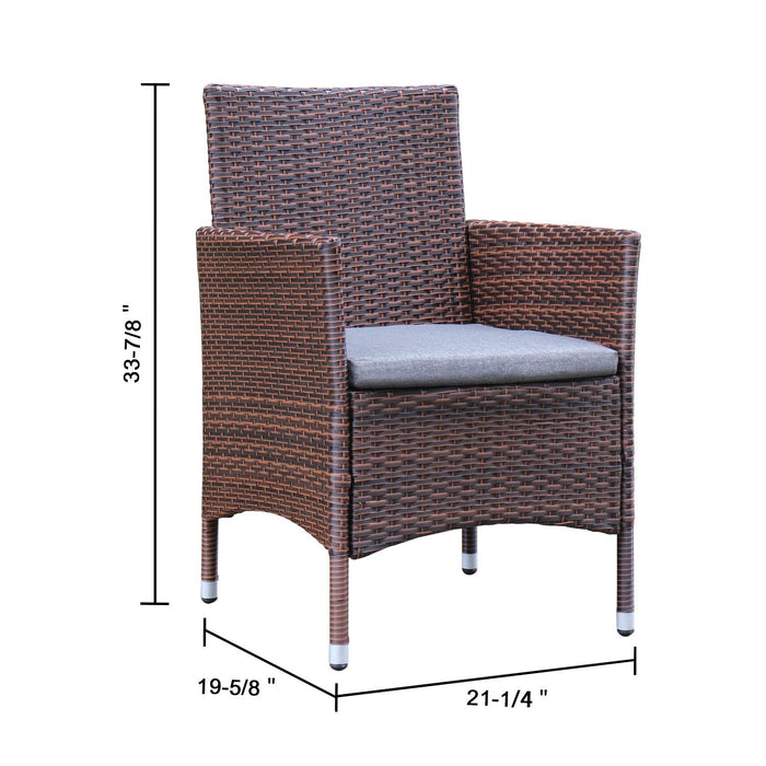 Azure Sky Rattan Outdoor Patio Furniture Set Garden Lawn Sofa Wicker Sofa Glass Top Table 2 Chairs (Brown)