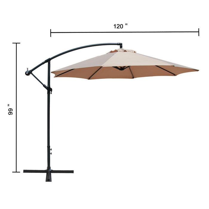 Baner Garden 10' Offset Hanging Patio Adjustable Polyester UV Umbrella Freestanding Outdoor Parasol Cantilever with Crank Lift, Light Brown (CA-2001)-Long Mountains