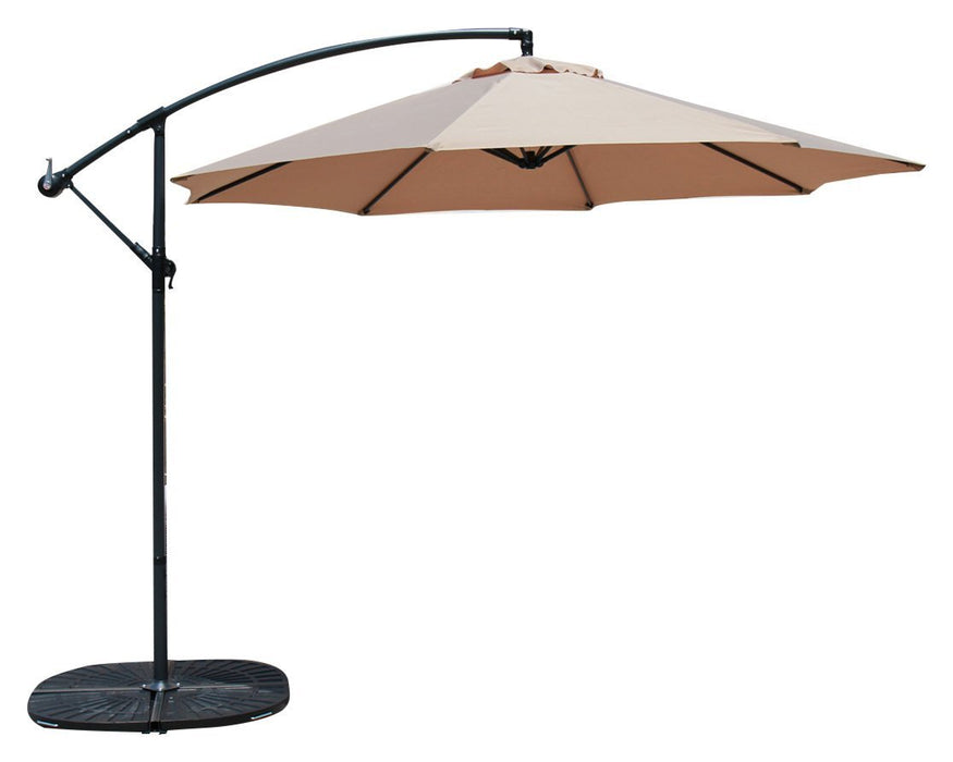 Baner Garden 10' Offset Hanging Patio Adjustable UV Umbrella Freestanding Outdoor Parasol Cantilever Set, comes with 4 pieces Heavy Duty Resin Stand, Light Brown (CA-2001-AB)-Long Mountains