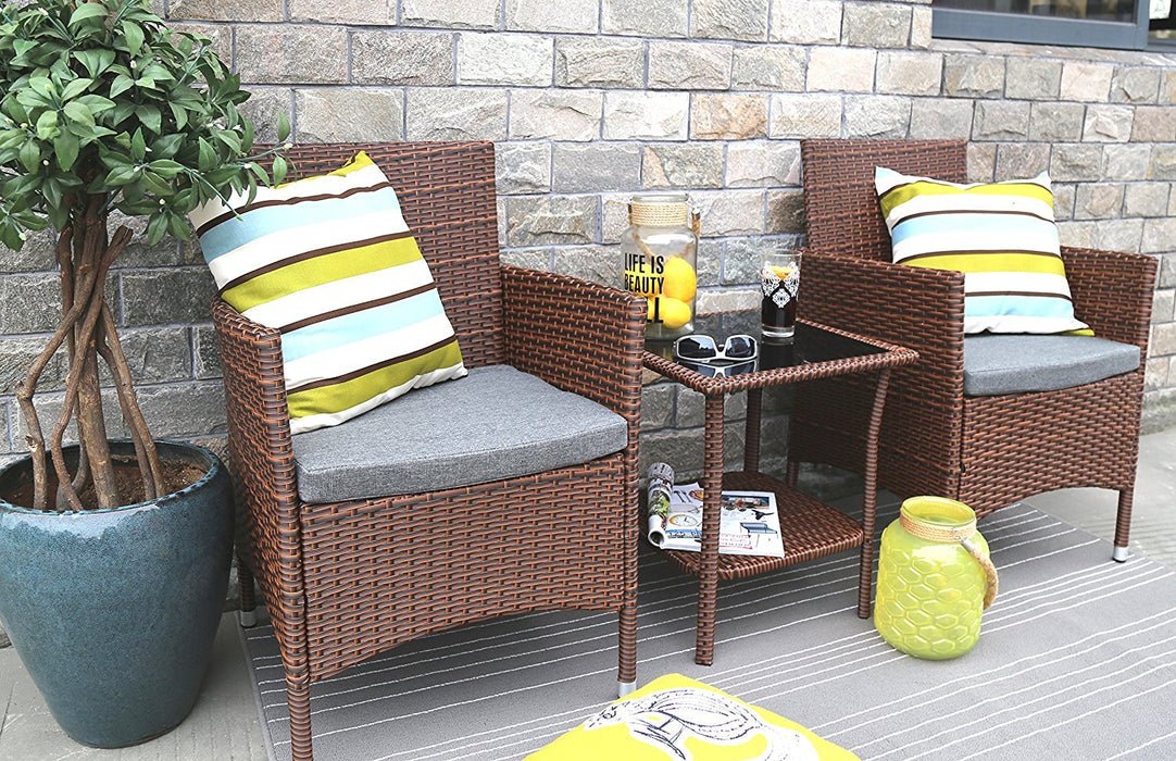 Baner Garden 3 Pieces Outdoor Furniture Complete Patio Cushion PE Wicker Rattan Garden Dining Set, Full, Brown (Q16)-Long Mountains