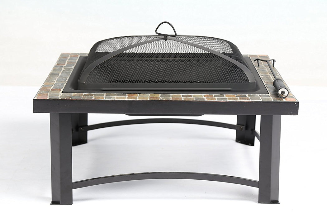 "Baner Garden 30"" F12 Square Portable Backyard Outdoor Garden Patio Stove Steel Firepit with Guard Top-Long Mountains"