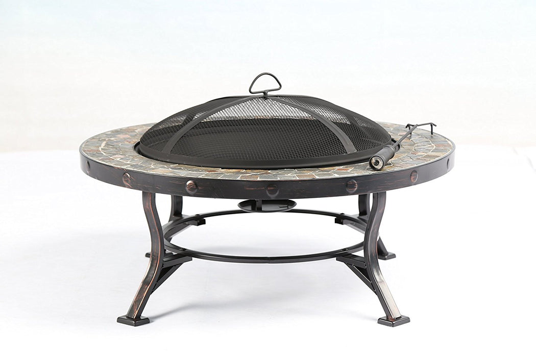 "Baner Garden 34"" F13 Round Portable Backyard Outdoor Garden Patio Stove Steel Firepit with Guard Top-Long Mountains"