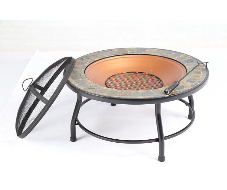 "Baner Garden 34"" F14 Round Portable Backyard Outdoor Garden Patio Stove Steel Firepit with Guard Top-Long Mountains"