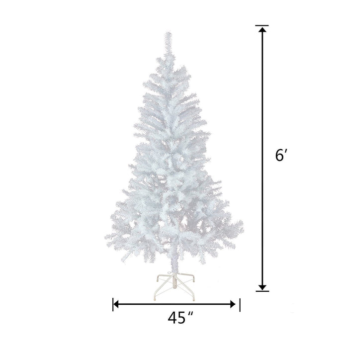 Baner Garden 6' Classic Premium Artificial Christmas Tree with stand and Christmas Clear String Lights, Crystal White Flocked Snow (CT76-6-CL100-1)-Long Mountains