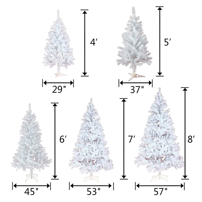Baner Garden 7' Classic Premium Artificial Christmas Tree with stand and Christmas Clear String Lights, Crystal White Flocked Snow (CT76-7-CL100-1)-Long Mountains