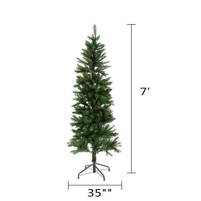 Baner Garden 7-feet Classic Artificial Pencil PVC Pine Christmas Tree with metal Stand Holiday Season Indoor Outdoor, Green (CT66-7)-Long Mountains