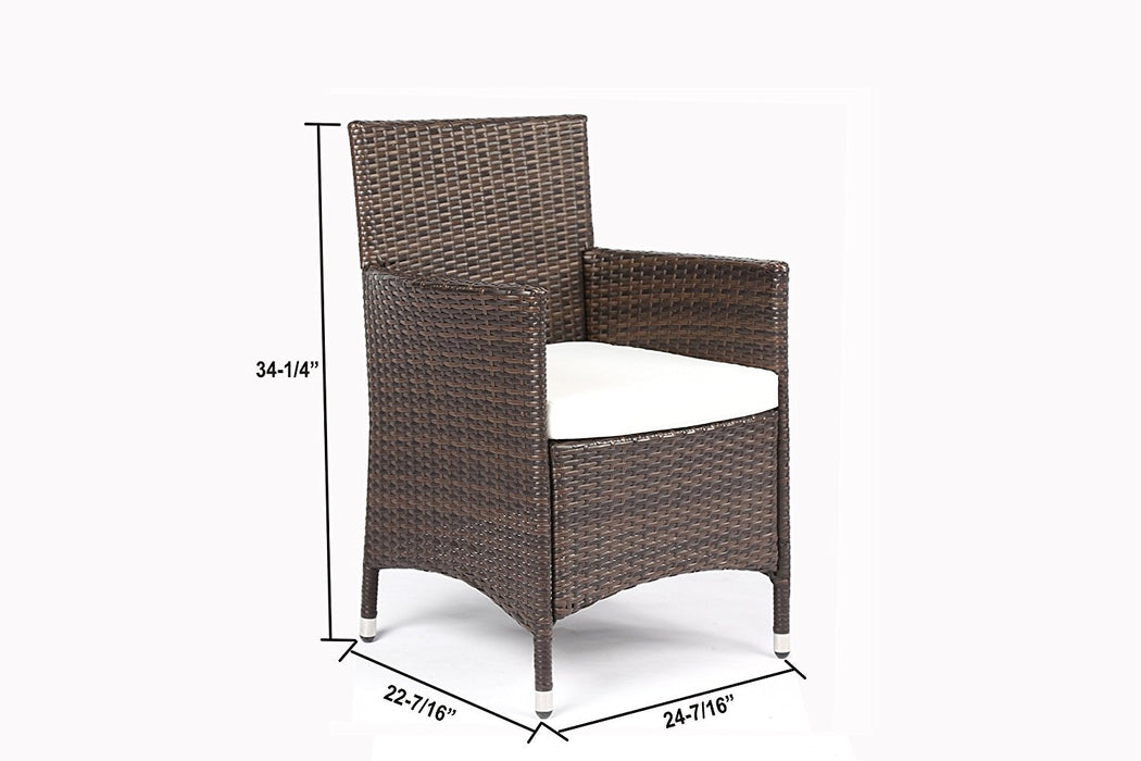 Baner Garden 7 Pieces Outdoor Furniture Complete Patio Cushion PE Wicker Rattan Garden Dining Set, Full, Brown-Long Mountains