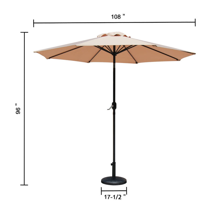 Baner Garden 9' Offset Hanging Patio Adjustable Market Polyester UV Umbrella Freestanding Outdoor Parasol Cantilever with Crank Lift and Tilt, Light Brown (CA-1102)-Long Mountains