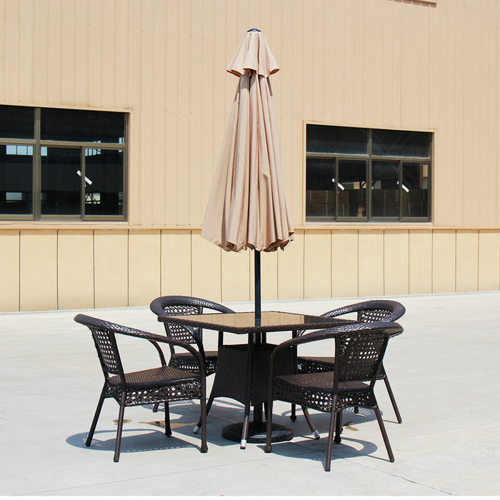 Baner Garden 9' Offset Hanging Patio Adjustable Market Umbrella Freestanding Outdoor Parasol Cantilever Crank Lift and Tilt Set comes with Heavy Duty Resin Stand, Light Brown (CA-1102-AB)-Long Mountains