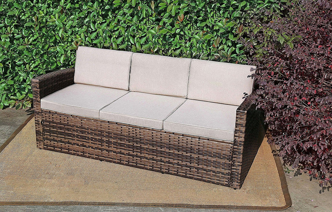 Baner Garden A101 Outdoor 1Piece Three Seater Rattan Pool Patio Garden Sofa with Cushions, Mixed Gray, Dark Gray/Light Gray-Long Mountains