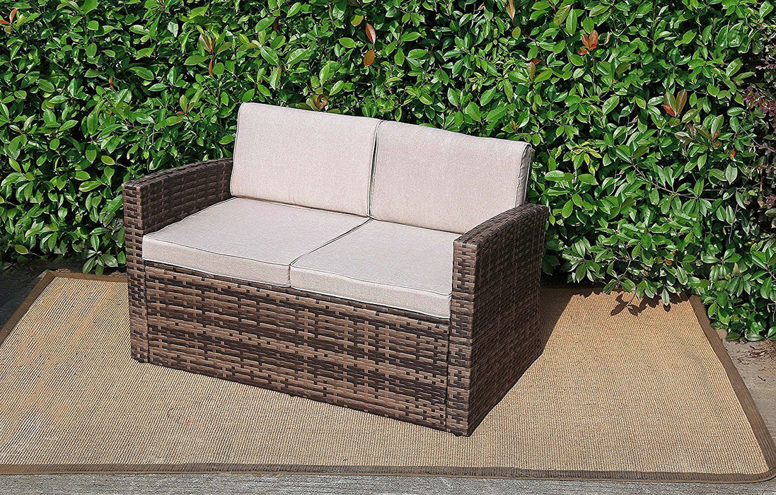 Baner Garden A102 Outdoor 1Piece Two Seater Rattan Pool Patio Garden Sofa with Cushions, Mixed Gray, Dark Gray/Light Gray-Long Mountains