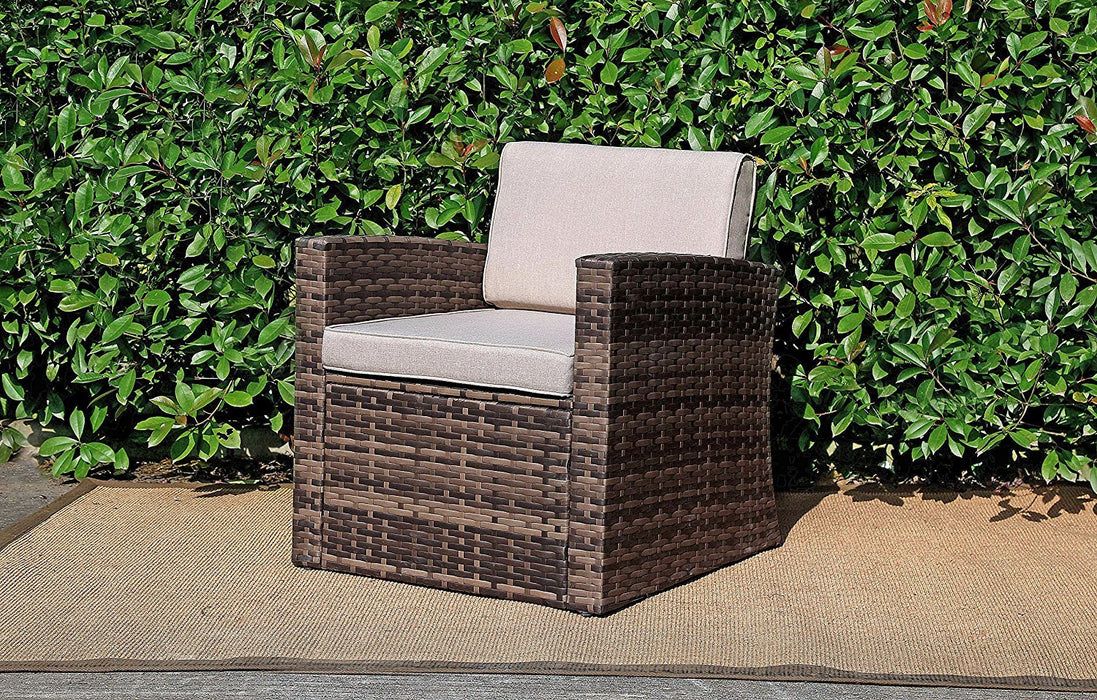 Baner Garden A103 Outdoor 1Piece Single Seater Rattan Pool Patio Garden Sofa with Cushions, Mixed Gray, Dark Gray/Light Gray-Long Mountains