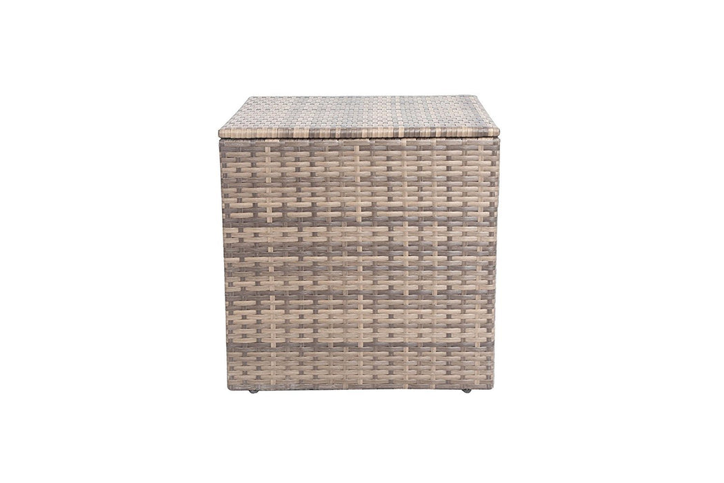 Baner Garden A105 Outdoor 1 Piecesquare Glass Rattan Patio Table with Storage Compartment, Mixed Gray/Dark Gray/Light Gray-Long Mountains