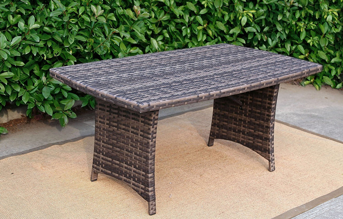 Baner Garden A106 Outdoor 1 Piece Rectangular Glass Rattan Pool Patio Dining Table, Dark Gray/Light Gray-Long Mountains