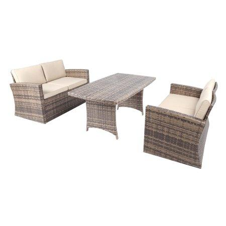 Baner Garden A157 3 Piece Outdoor Full Sofa Dining Table Rattan Pool Patio Garden Set with Cushions, Mixed Gray-Long Mountains