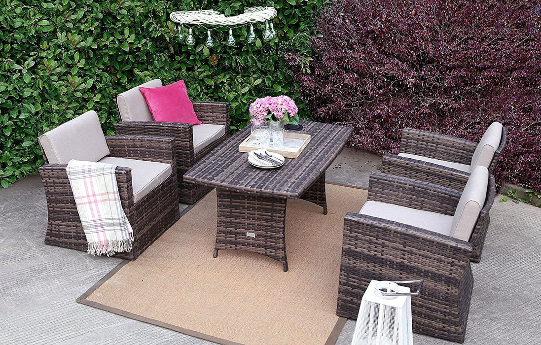 Baner Garden A158 5 Piece Outdoor Full Sofa Dining Table Rattan Pool Patio Garden Set with Cushions, Mixed Gray-Long Mountains
