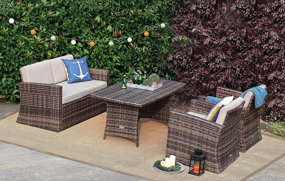 Baner Garden A159 4 Piece Outdoor Full Sofa Dining Table Rattan Pool Patio Garden Set with Cushions, Mixed Gray-Long Mountains