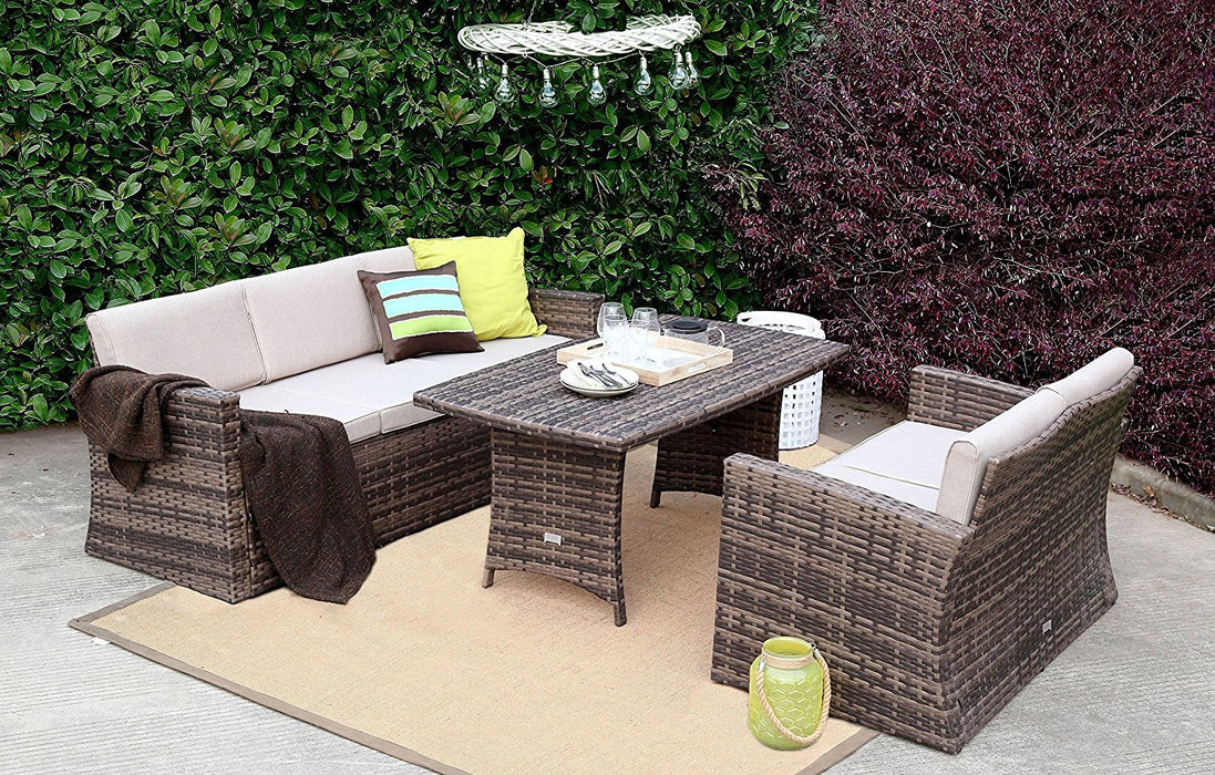 Baner Garden A160 3 Piece Outdoor Full Sofa Dining Table Rattan Pool Patio Garden Set with Cushions, Mixed Gray-Long Mountains