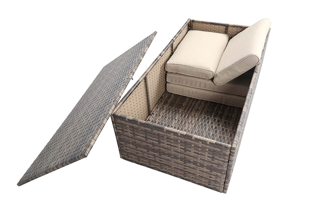Baner Garden A162 4 Piece Outdoor Full Sofa Coffee Table Rattan Pool Patio Garden Set with Cushions, Mixed Gray-Long Mountains