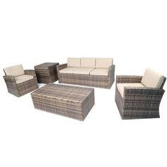 Baner Garden A164 5 Piece Outdoor Full Sofa Coffee and Side Table Rattan Pool Patio Garden Set with Cushions, Mixed Gray-Long Mountains