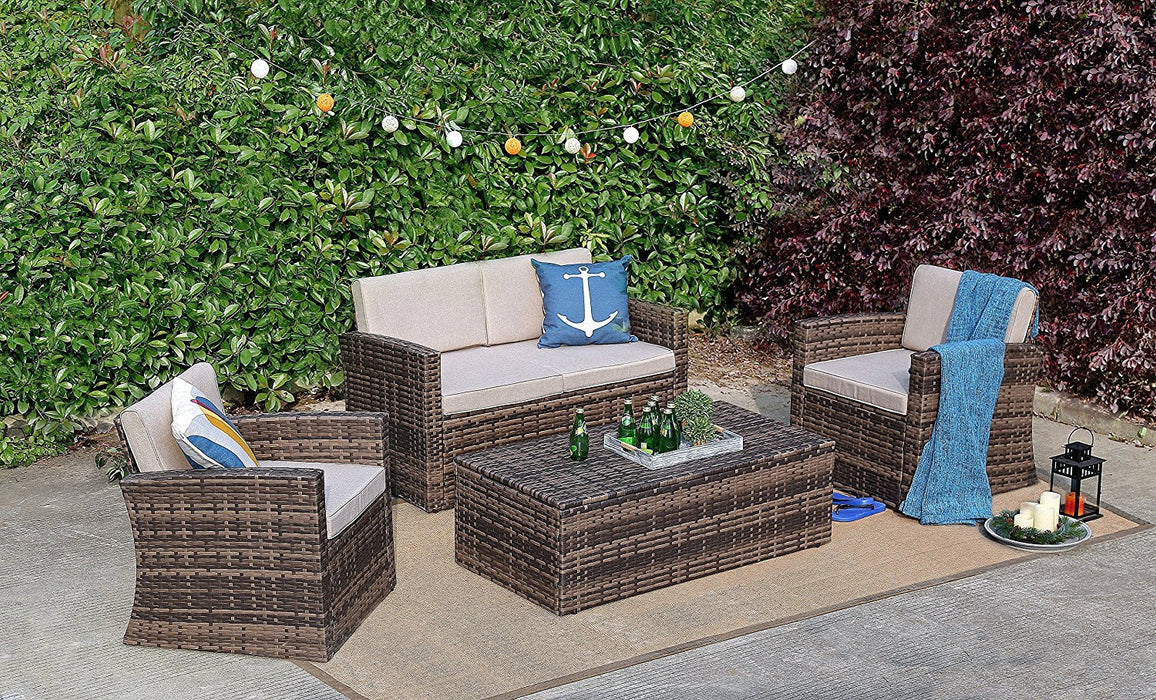 Baner Garden A165 4 Piece Outdoor Full Sofa Coffee Table Rattan Pool Patio Garden Set with Cushions, Mixed Gray-Long Mountains