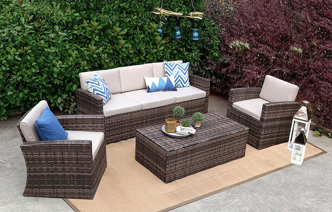 Baner Garden A166 4 Piece Outdoor Full Sofa Coffee Table Rattan Pool Patio Garden Set with Cushions, Mixed Gray-Long Mountains