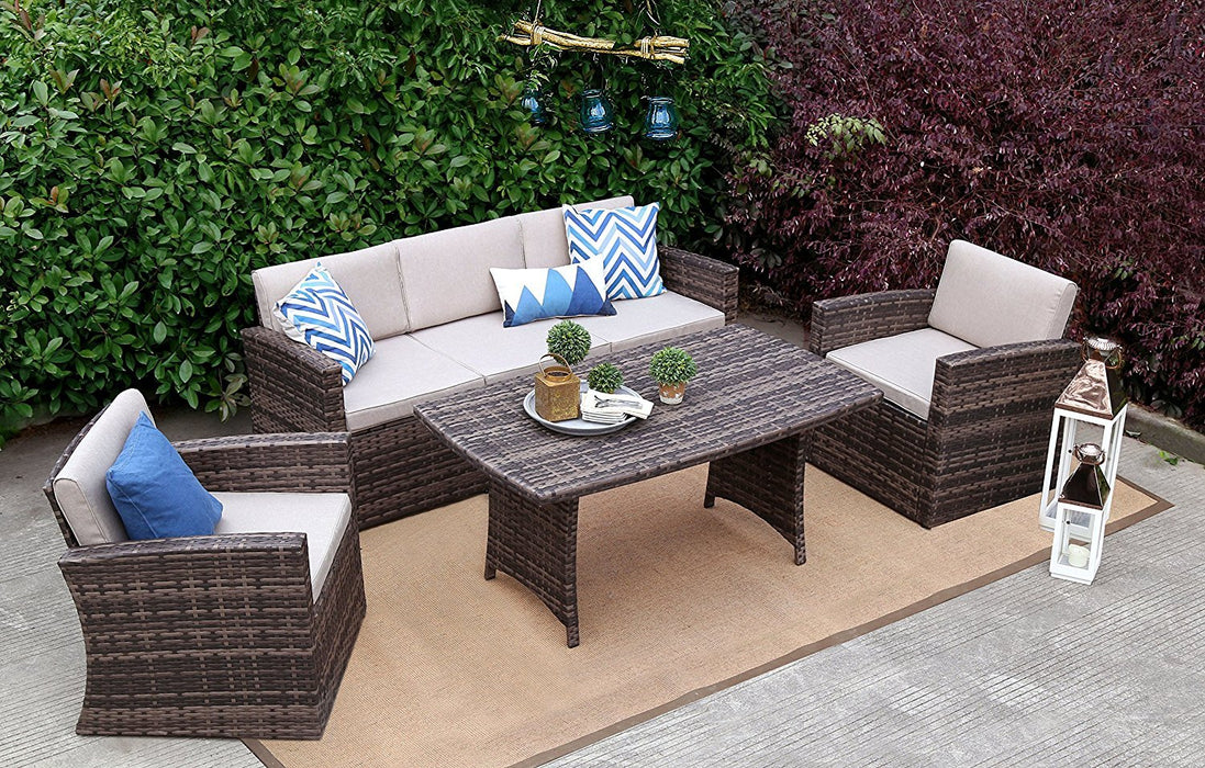 Baner Garden A167 4 Piece Outdoor Full Sofa Dining Table Rattan Pool Patio Garden Set with Cushions, Mixed Gray-Long Mountains
