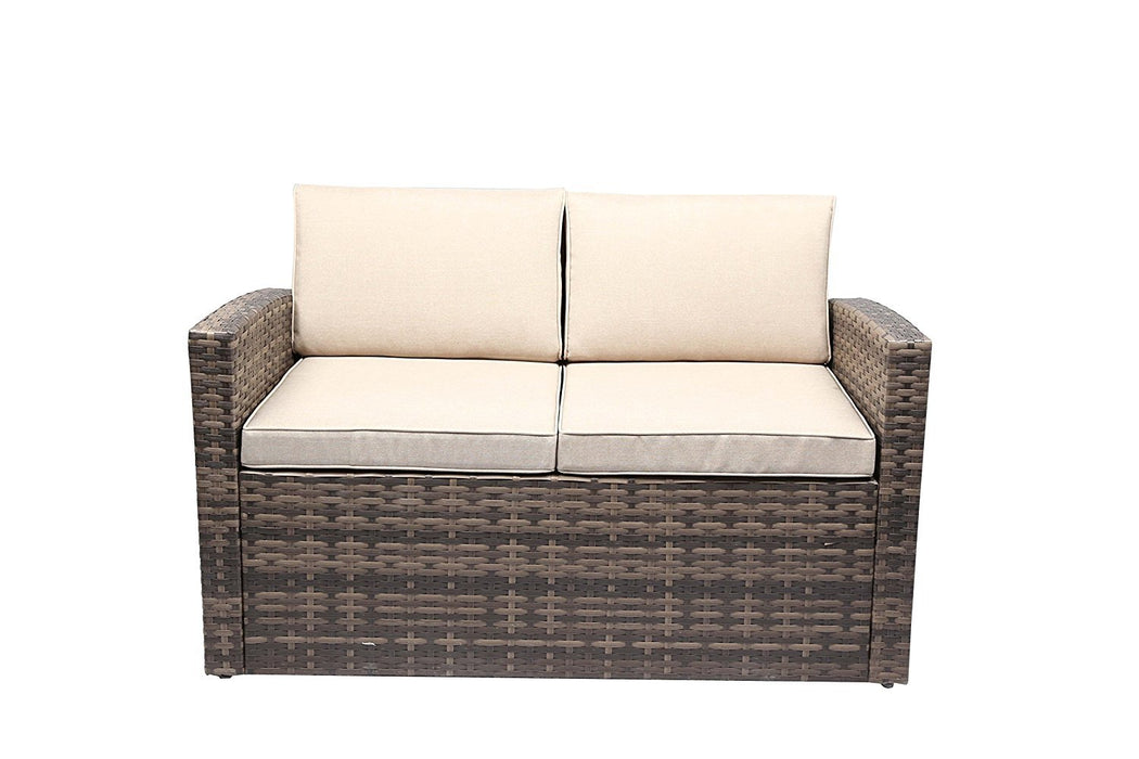 Baner Garden A169 6 Piece Outdoor Full Sofa Coffee and Side Table Rattan Pool Patio Garden Set with Cushions, Mixed Gray-Long Mountains