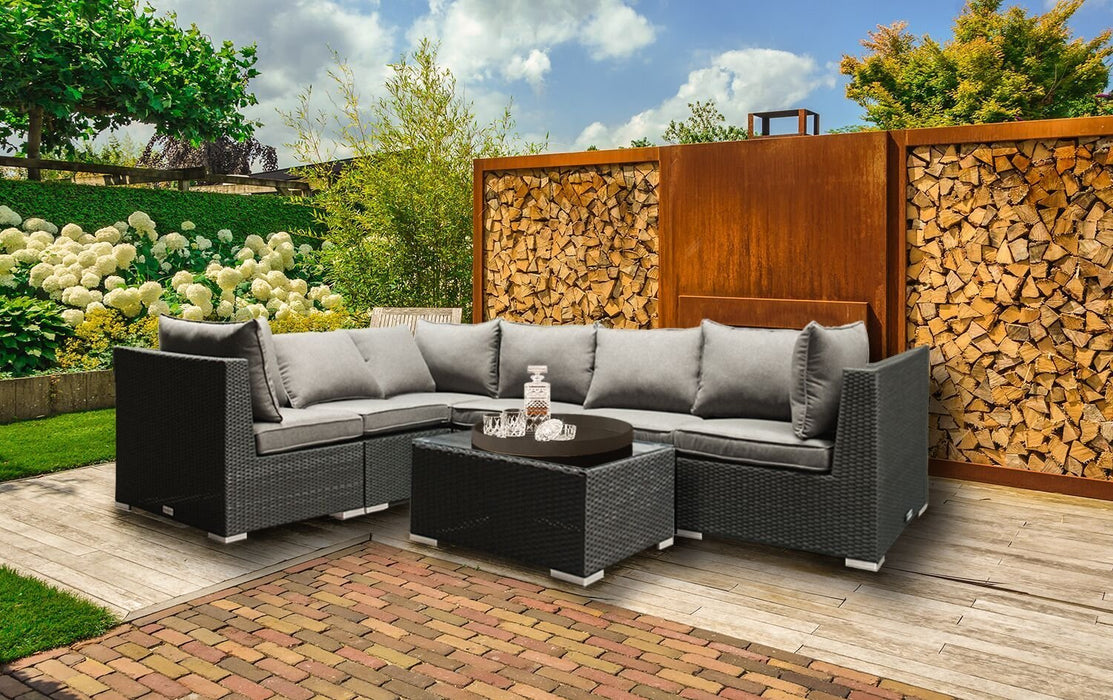Baner Garden CA90 Sectional Sofa Patio Set 5-Seater-Long Mountains