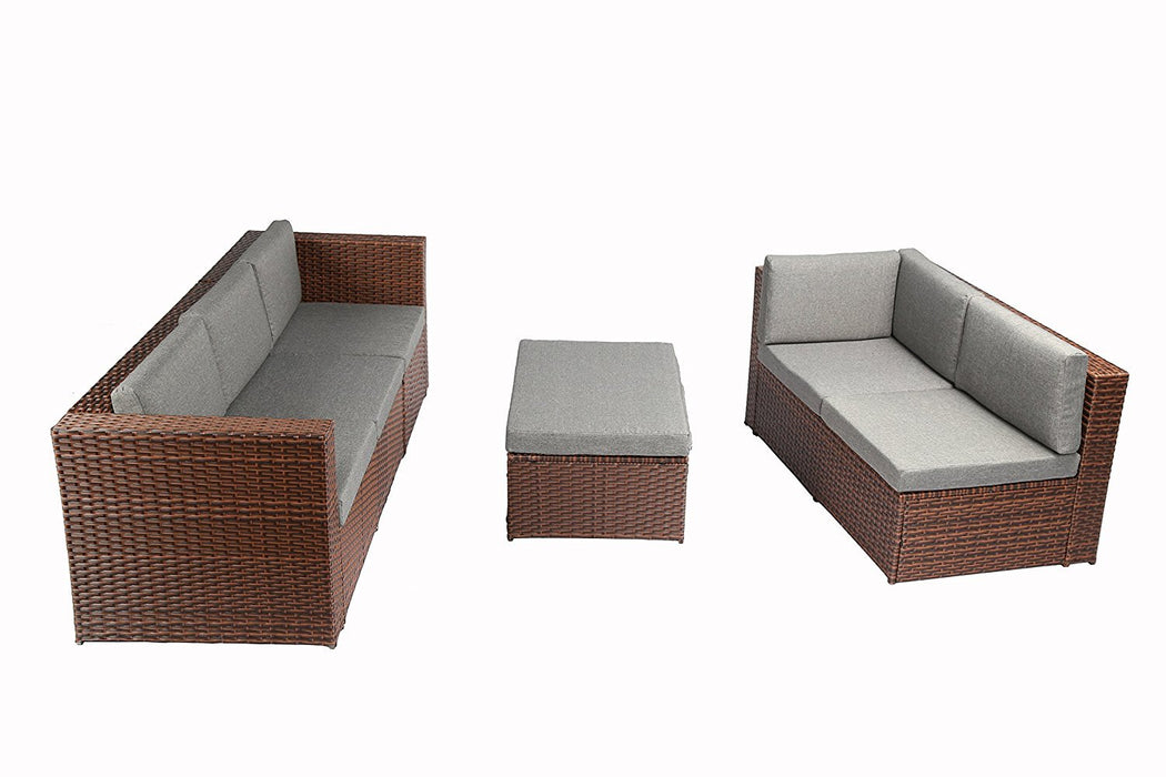 Baner Garden (K35-BR) 4 Pieces Outdoor Furniture Complete Patio Cushion Wicker Rattan Garden Corner Sofa Couch Set, Full, Brown-Long Mountains