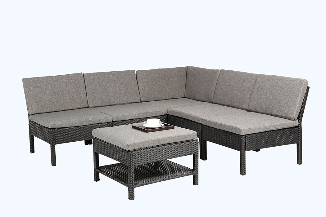 Awesome Baner Garden K55 6 Pieces Outdoor Furniture Complete Patio Wicker Rattan Garden Corner Sofa Couch Set Full Black Pabps2019 Chair Design Images Pabps2019Com