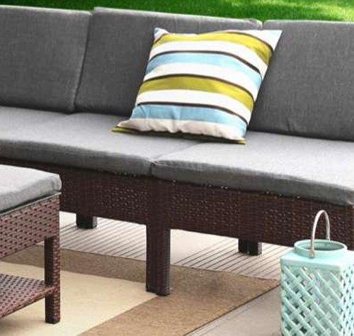 Baner Garden (K55) 6 Pieces Outdoor Furniture Complete Patio Wicker Rattan Garden Corner Sofa Couch Set, Full, Black-Long Mountains