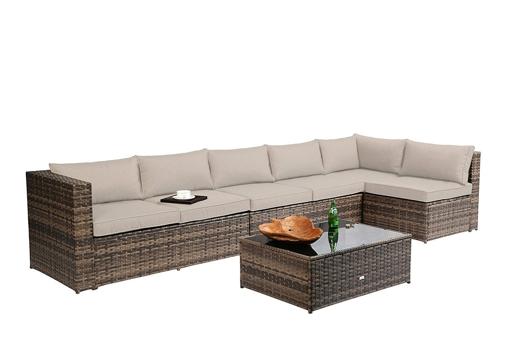 Baner Garden K86-GR Nat PE Wicker Sectional Sofa Set, 6-Seater, Tow-Tone Brown-Long Mountains