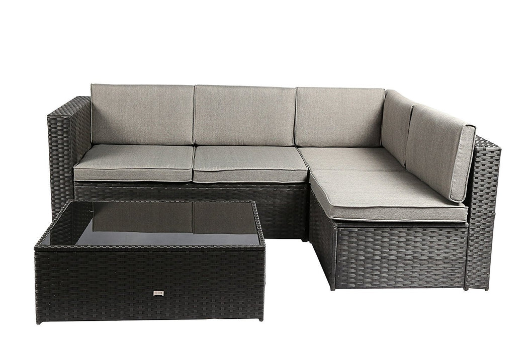 Baner Garden K87-BL Nat PE Wicker Patio Set, 4-Seater, Black-Long Mountains