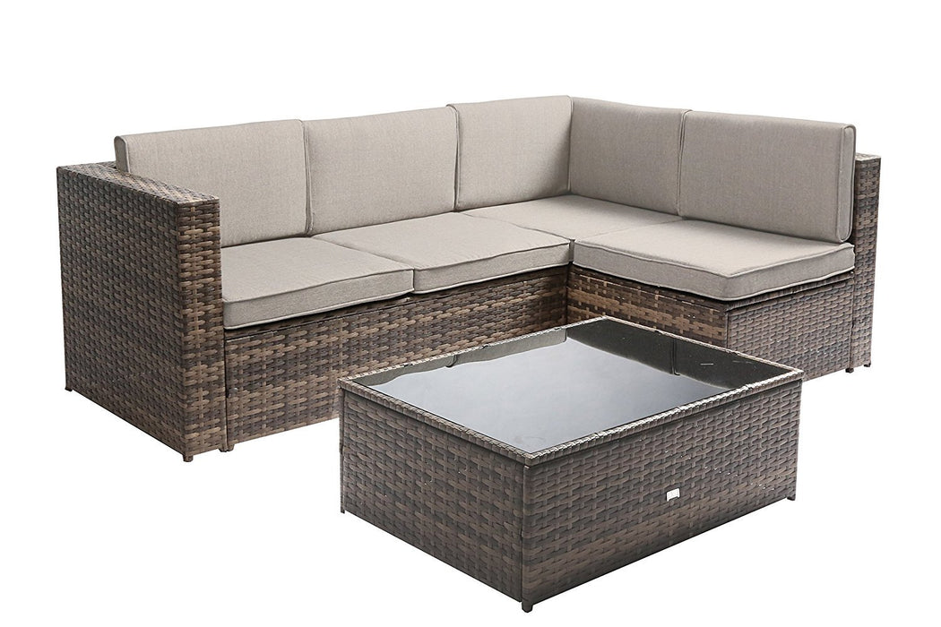Baner Garden K87-GR Nat PE Wicker Patio Set, 4-Seater, Tow-Tone Brown-Long Mountains