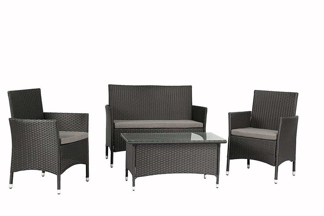 Baner Garden (N68) 4 Pieces Outdoor Furniture Complete Patio Wicker Rattan Garden Set, Full, Black-Long Mountains