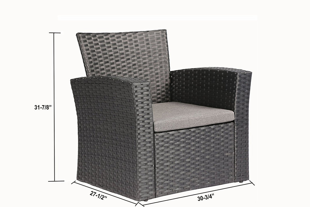 Baner Garden (N87) 4 Pieces Outdoor Furniture Complete Patio Cushion Wicker P.E Rattan Garden Set, Full, Black-Long Mountains