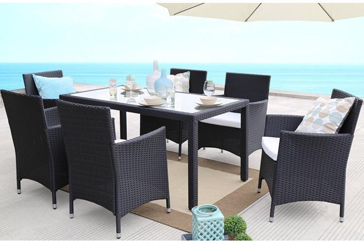Baner Garden Outdoor Furniture Complete Patio 7Piece Pe Wicker Rattan Garden Dining Set, Black (N16)-Long Mountains