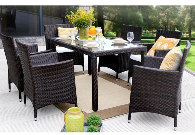 Baner Garden Outdoor Furniture Complete Patio 7Piece Pe Wicker Rattan Garden Dining Set, Brown (N16-BR)-Long Mountains