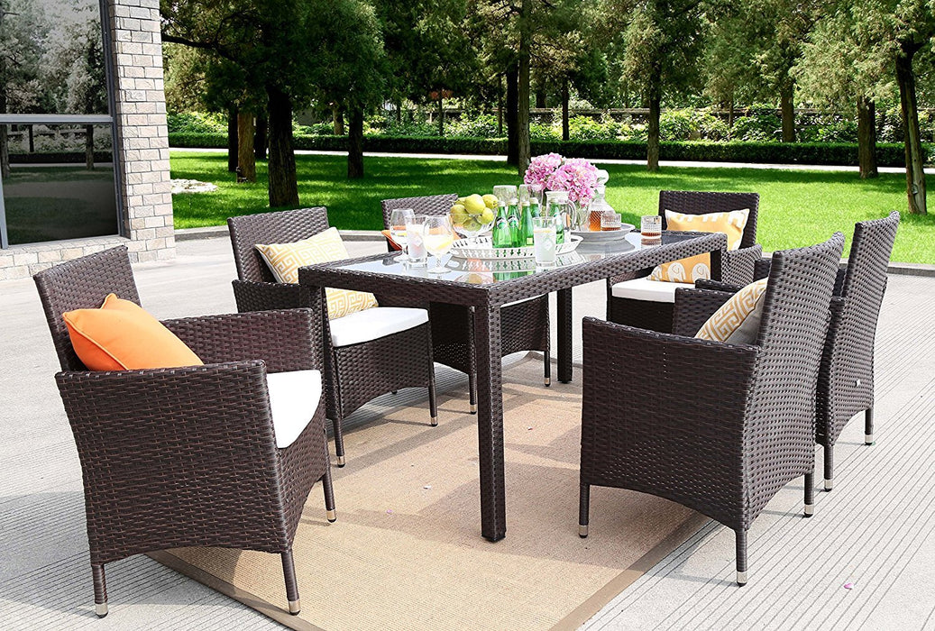Baner Garden Outdoor Furniture Complete Patio 7Piece Pe Wicker Rattan Garden Dining Set, Chocolate (N16-CH)-Long Mountains