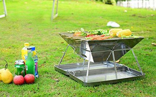 Caesar Hardware Folding Steel Portable Charcoal BBQ Grill, Small-Long Mountains