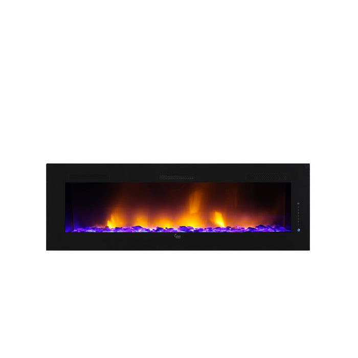 "Caesar Hardware Luxury Linear Wall Mount Recess Freestanding Flame Electric Fireplace, 102"", Multicolor-Long Mountains"