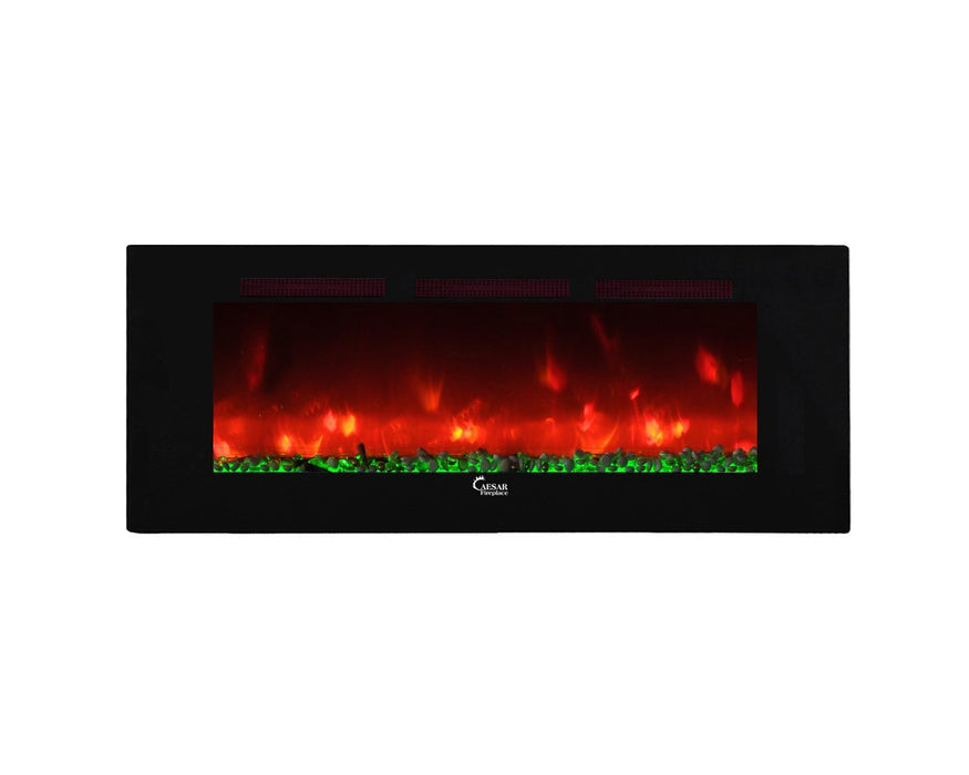 Caesar Luxury Linear Wall Mount Recess Freestanding Multicolor Flame Electric Fireplace, 74-Inch-Long Mountains